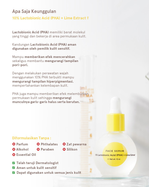 Dear Me Beauty Single Activator Face Serum- 10% Lactobionic Acid (PHA) + Lime Extract (32ml)