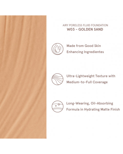 Airy Poreless Fluid Foundation - Golden Sand